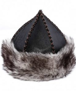 Gray Wolf Feather Patterned Leather Hat 1 247x296 - Sword