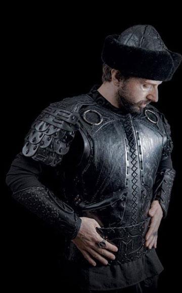 men fashion black handmade leather armor full body set