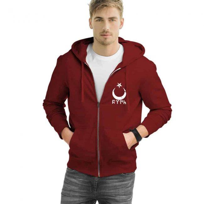 Gokturk Alphabet Crescent Turkish Zipped Sweatshirt