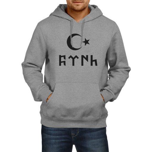 Gokturk Alphabet and Moon Star Hooded Sweatshirt
