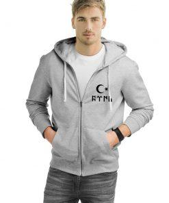 Gokturk Alphabet and Moon Star Turkish Zipped Sweatshirt