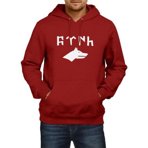 Gray Wolf Gokturk Alphabet Hooded Sweatshirt