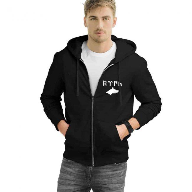 Gray Wolf Gokturk Alphabet Zipped Hooded Sweatshirt