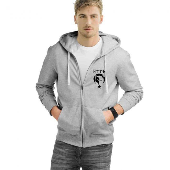 Gray Wolf Zipped Hooded Sweatshirt
