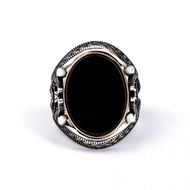 Double Headed Eagle Motif Black Zircon Stone Silver Ring 2 650x650 - Double Headed Eagle Motif Black Zircon Stone Silver Ring