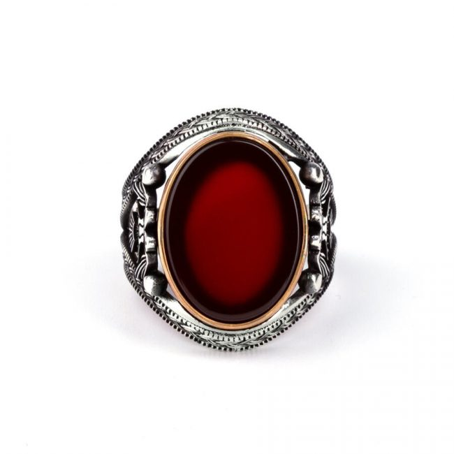 Double Headed Eagle Motif Red Agate Stone Silver Ring 2 650x650 - Double Headed Eagle Motif Red Agate Stone Silver Ring