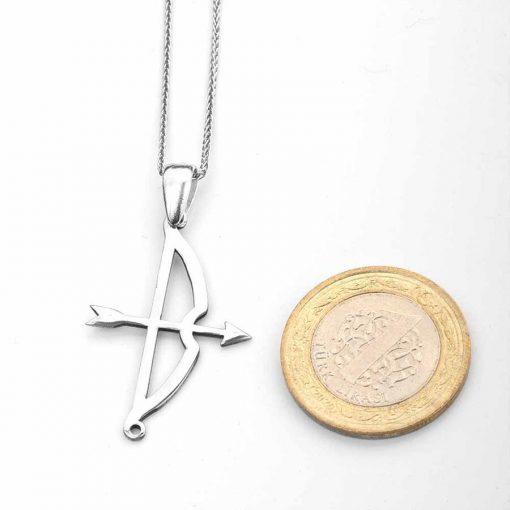 Tozkoparan Arrow Bow Vertical Cut Silver Necklace 3 510x510 - Tozkoparan Arrow Bow Vertical Cut Silver Necklace