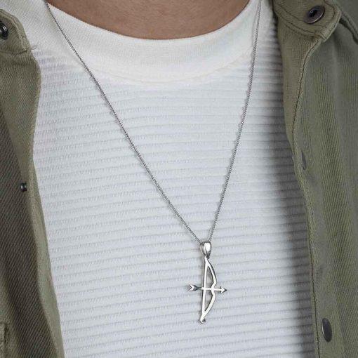 Tozkoparan Arrow Bow Vertical Cut Silver Necklace 4 510x510 - Tozkoparan Arrow Bow Vertical Cut Silver Necklace