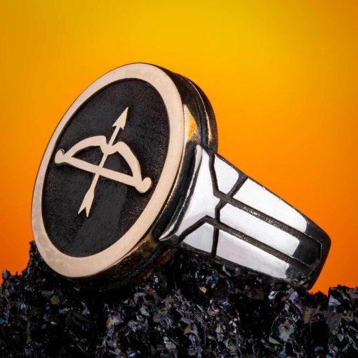 Turkish Silver Ring Shop Great Seljuk Arrow Bow Motif Silver Yellow Mens Ring 6 510x510 - Great Seljuk Arrow Bow Motif Silver Yellow Men's Ring