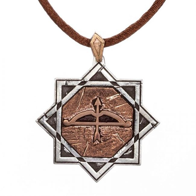Big Arrow Bow Antique Silver Men Necklace Leather Corded 1 650x650 - Great Seljuk Eight-pointed Star Shahada Antique Silver Thumb Ring