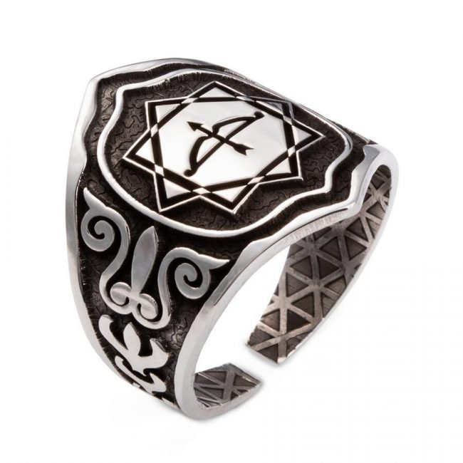 Great Seljuk Eight pointed Star Arrow Bow Mens Silver Thumb Ring 1 650x650 - Great Seljuk Kınık Tribe Antique Silver Men's Thumb Ring