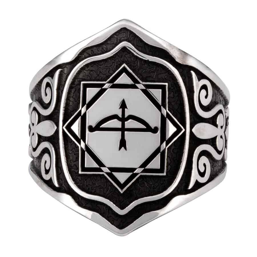 Great Seljuk Eight pointed Star Arrow Bow Mens Silver Thumb Ring 2 - Great Seljuk Eight-pointed Star Arrow Bow Men's Silver Thumb Ring