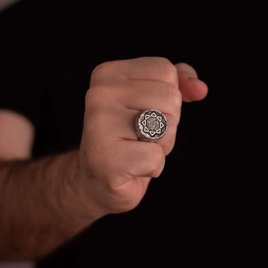 Great Seljuk Eight pointed Star Shahada Antique Silver Thumb Ring 6 - Great Seljuk Eight-pointed Star Shahada Antique Silver Thumb Ring