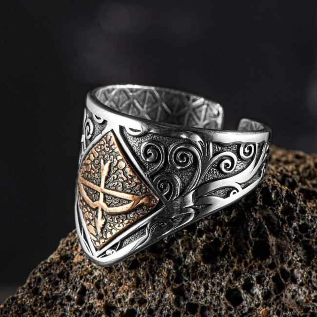 Tozkoparan Arrow Bow Silver Male Zihgir Thumb Ring 1 650x650 - Great Seljuk Kınık Tribe Antique Silver Men's Thumb Ring